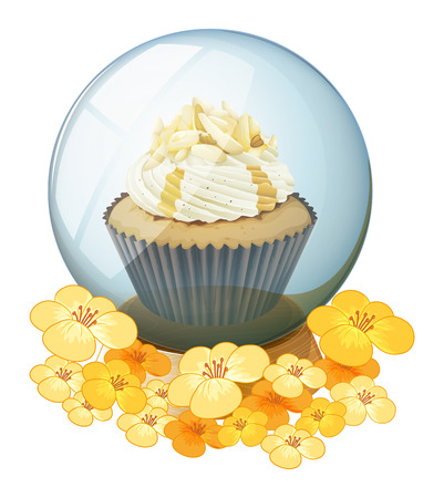 Illustration of a cupcake inside the crystal ball on a white background Vector