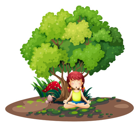 under tree: Illustration of a girl doing yoga under the tree on a white background