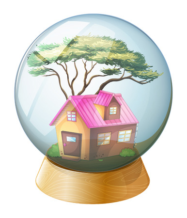 Illustration of a crystal ball with a pink house inside on a white background Vector