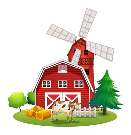 Illustratie van een rode barnhouse op de boerderij op een witte achtergrond Vector Illustratie