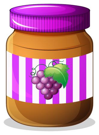 Illustration of a jar of grape jam on a white background