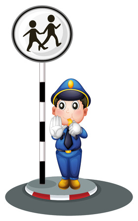 Illustration of a policeman beside the street signage on a white background