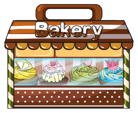 bakery store: Illustration of a bakery selling baked goodies and cakes on a white background