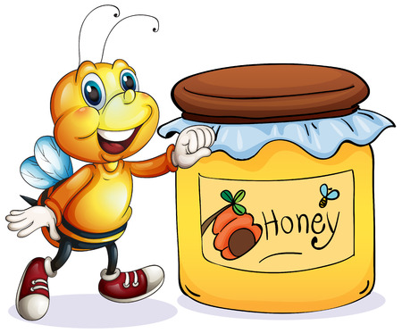 food preservation: Illustration of a bee beside the jar of honey on a white background