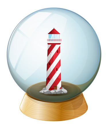 parola: Illustration of a tower inside the crystal ball on a white background Illustration