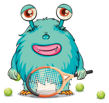Illustration of a monster playing table tennis on a white background Vector