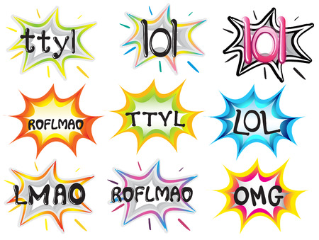 Illustration of the different short-termed expressions on a white background Illustration