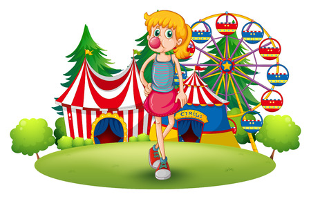 lanscape: Illustration of a tall young girl at the carnival on a white background