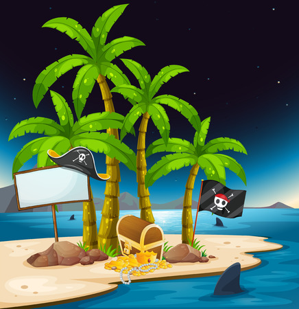 Illustration of a pirate island with an empty signboard Vector