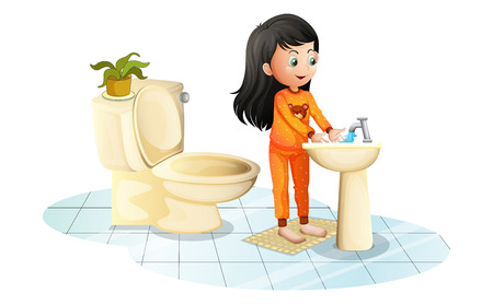 Illustration of a cute little girl washing her hands on a white background Illustration