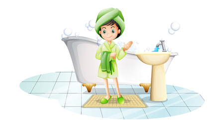 Illustration of a young lady taking a bath with a green towel on a white background Vector