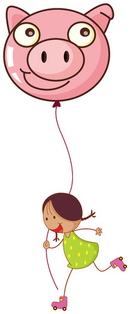 blowing nose: Illustration of a girl playing with her rollers while holding a pig balloon on a white background