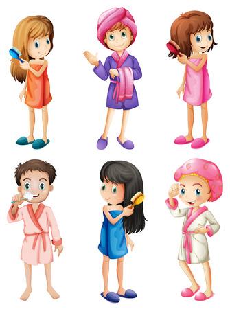 propret�: Illustration des enfants de toilettage sur un fond blanc