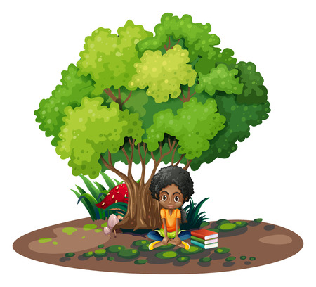 storybook: Illustration of a young girl under the tree beside her books on a white background Illustration
