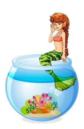 Illustration of a mermaid sitting above the aquarium on a white background Vector