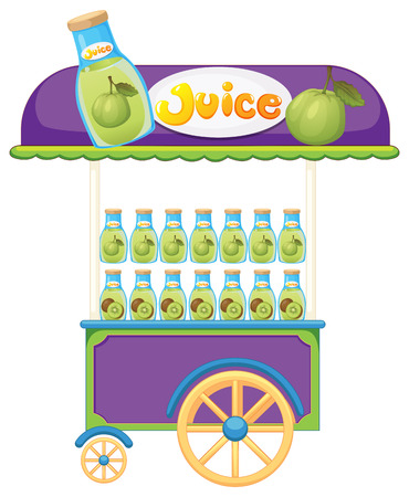 guava fruit: Illustration of a guava fruit juice cart on a white background