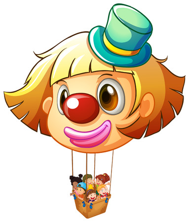 clown nose: Illustration of a big clown balloon with a basket full of happy kids on a white background