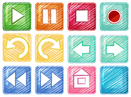 Illustration of the different icons on a white background Vector