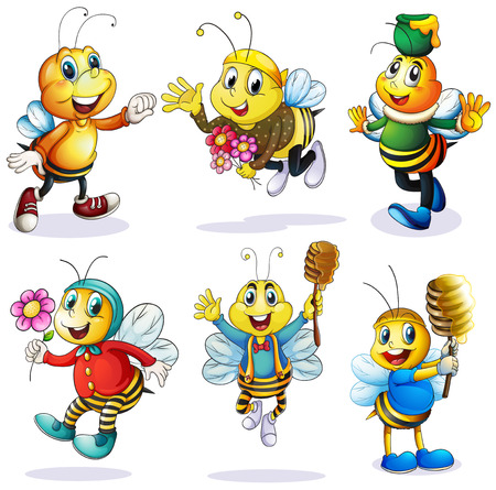 bee on white flower: Illustration of a group of happy bees on a white background