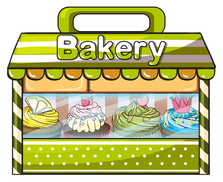 bakery store: Illustration of a green bakery store on a white background