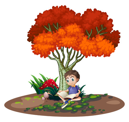 Illustration of a boy reading under the tree on a white background Vector