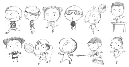 kids playing sports: Illustration of the doodle design of kids playing with the different sports on a white background