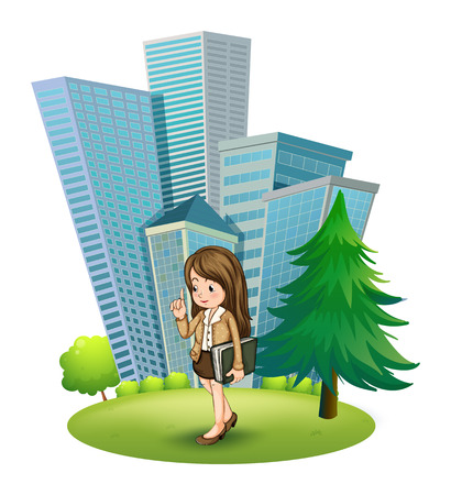 tall tree: Illustration of a woman near the pine tree across the tall buildings on a white background