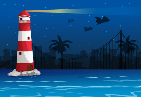 Illustration of a bright lighthouse in the middle of the sea Vector