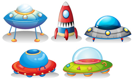 explosion hazard: Illustration of the flying saucers and a rocket on a white background
