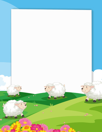animal frame: Illustration of a banner with a view of sheeps in a farm Illustration