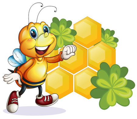 segmented bodies: Illustration of a smiling bee on a white background