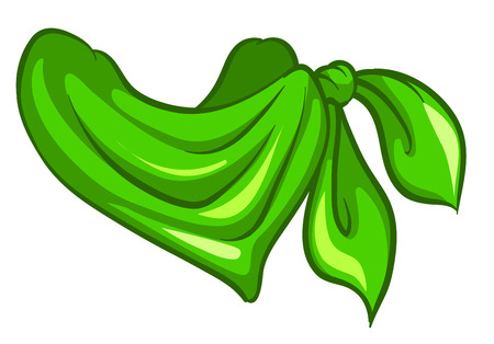 hanky: Illustration of a green scarf on a white background