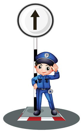 enforcer: Illustration of a policeman near the post on a white background