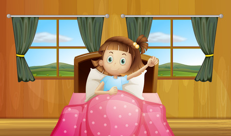 Illustration of a girl waking up in bed Vector