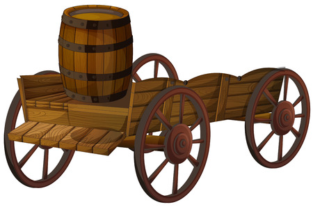 Illustration of a barrel on a wagon