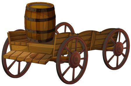 carreta madera: Ilustración de un barril en un vagón Vectores
