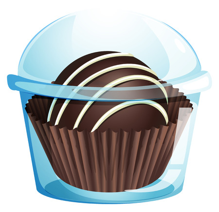 mouthwatering: Illustration of a mouthwatering chocolate inside the transparent container on a white background Illustration