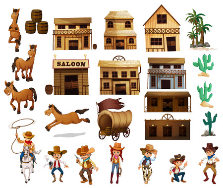 west: Illustration of cowboys and buildings