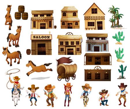 Ilustración de los vaqueros y los edificios