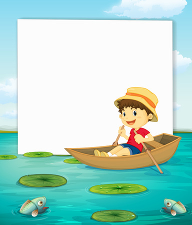 water lilly: Illustration of a banner with a view of a boy on boat