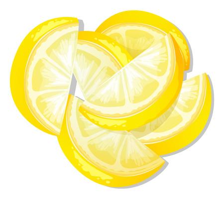 vegetables white background: Illustration of slices of lemon