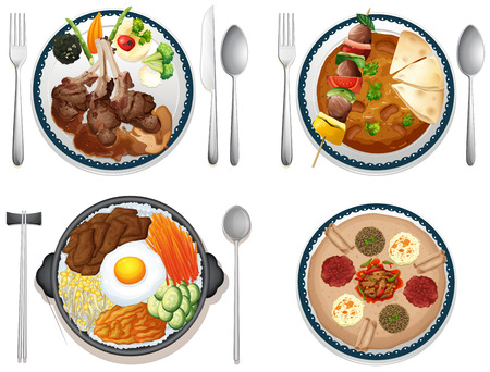 Illustration of four dishes of international food