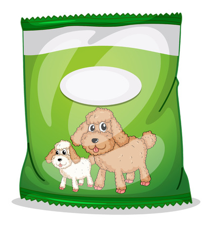 pouch: Illustration of a green dogfood pouch with an empty label on a white background