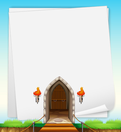 open flame: Illustration of a castle entrance Illustration