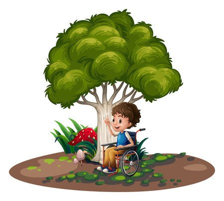 Illustration of a boy with a wheelchair on a white background Vector