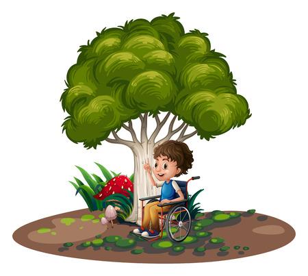 niños discapacitados: Ilustración de un niño con una silla de ruedas sobre un fondo blanco Vectores