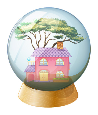Illustration of a crystal ball with a beautiful house inside on a white background Vector