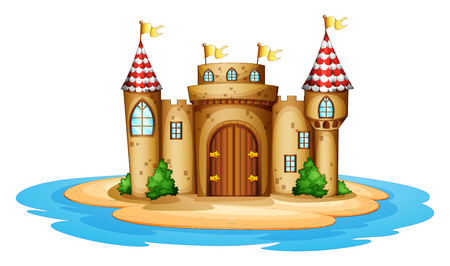 Illustration of a castle in the island on a white background Illustration