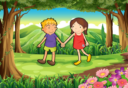 friends cartoon: Illustration of a girl and a boy at the forest