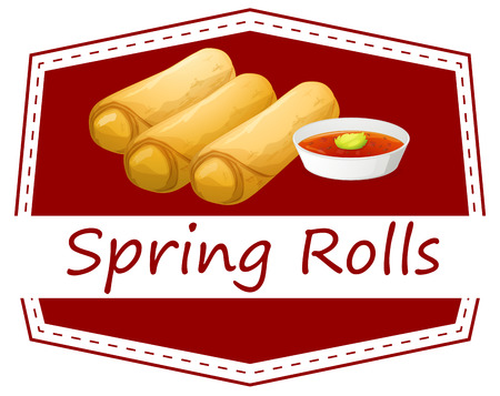 Illustration of spring rolls